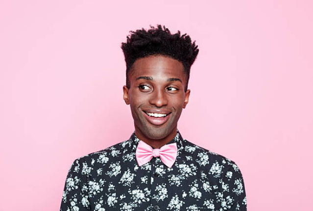 Young man in floral shirt