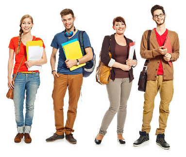 Four students stock photos